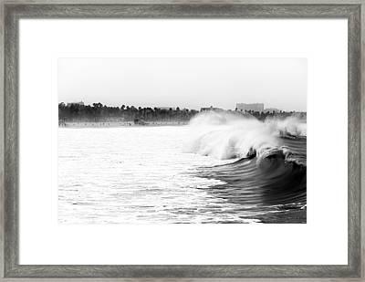 Big Surf At Santa Monica Framed Print by John Rizzuto