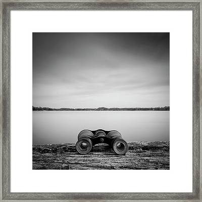 Binoculars On Plank Framed Print by Peter Levi