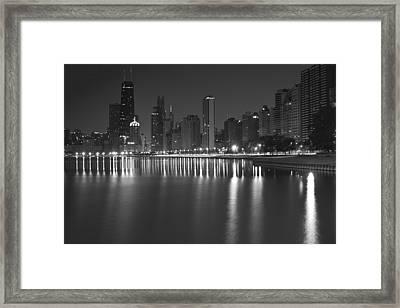 Black And White Chicago Skyline At Night Framed Print