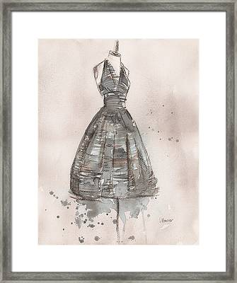 Black And White Striped Dress Framed Print by Lauren Maurer