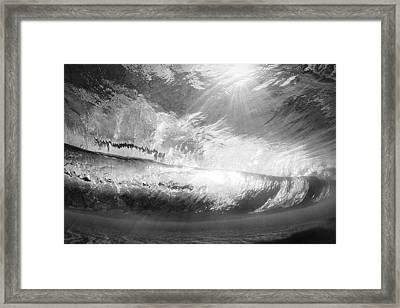 Black And White View Under Wave Framed Print