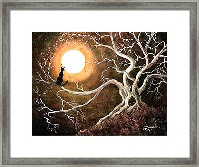Black Cat In A Spooky Old Tree Framed Print