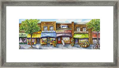 Framed Print featuring the painting Bloorwest Village  by Margit Sampogna