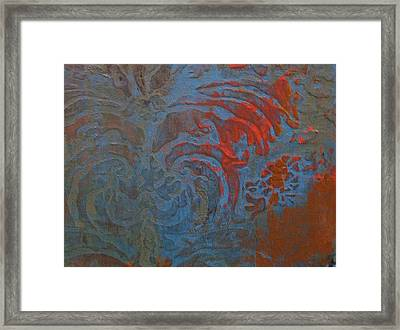 Blue Damask Inlay Framed Print