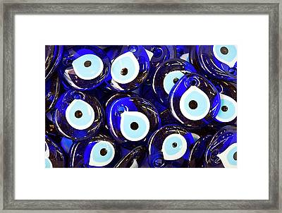 Blue Turkish Evil Eyes Framed Print by Paul Biris