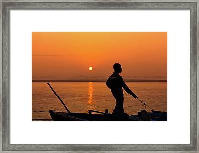 Boatsman On The Ganges Framed Print