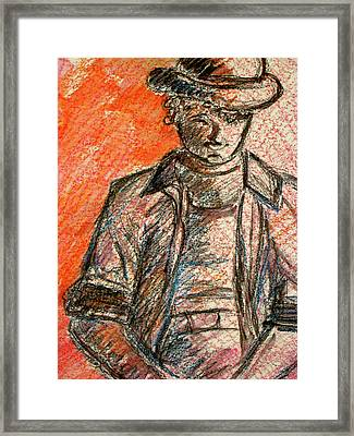 Framed Print featuring the painting Boy In Red by Cathie Richardson