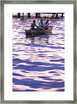 Boys On Boat Framed Print