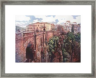 Bridge To Ronda Framed Print by Leslie Redhead