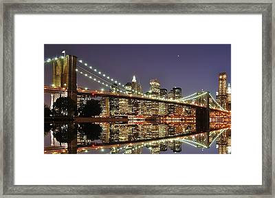 Brooklyn Bridge At Night Framed Print by Sean Pavone