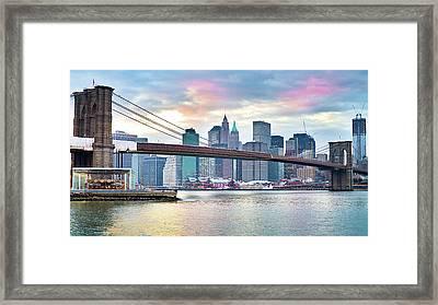 Brooklyn Bridge Restoration Framed Print by Ryan D. Budhu