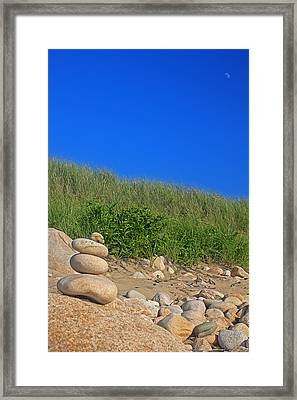 Cairn Dunes And Moon Framed Print by Todd Breitling