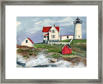 Framed Print featuring the painting Cape Neddic Lighthouse  by Nancy Patterson