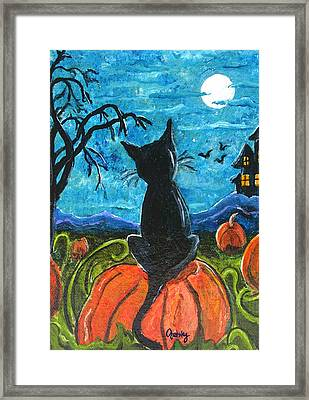 Cat In Pumpkin Patch Framed Print by Paintings by Gretzky