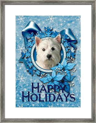 Christmas - Blue Snowflakes West Highland Terrier Framed Print by Renae Laughner
