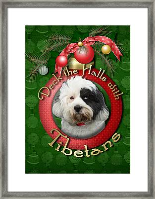 Christmas - Deck The Halls With Tibetans Framed Print by Renae Laughner