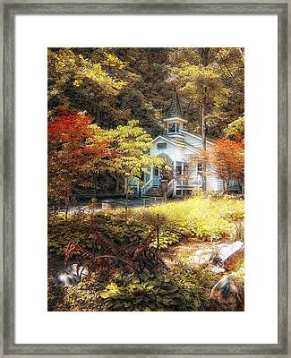 Church In The Woods Framed Print by Gina Cormier