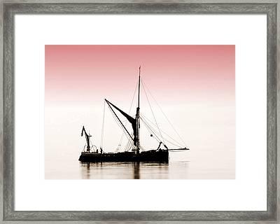 Coble Sailing  Against Pint Sky Framed Print