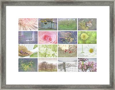Collage Of Seasonal Images With Vintage Look Framed Print by Sandra Cunningham