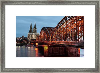 Cologne Cathedral At Dusk Framed Print by Vulture Labs
