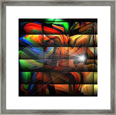 Colorful Abstract Sunburst Framed Print by Teo Alfonso