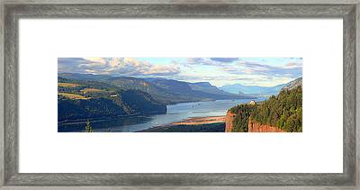 Columbia River Gorge Panorama. Framed Print by Gino Rigucci