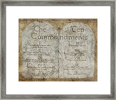 Commandments Framed Print by Cindy Wright