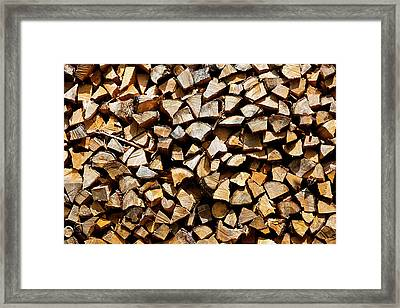 Framed Print featuring the photograph Cord Wood Texture by Charles Lupica