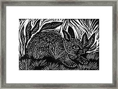 Cottontail Block Print Framed Print by Ellen Miffitt