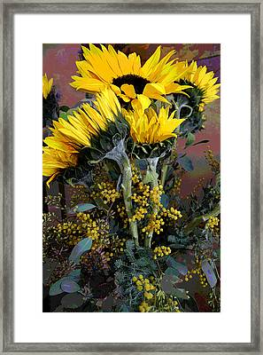 Cuddling Sunflowers Framed Print