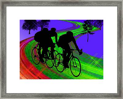 Cycling Trio On Ribbon Road Framed Print by Elaine Plesser