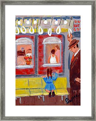 Dad And Me On The El Framed Print by Elzbieta Zemaitis