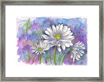 Framed Print featuring the painting Daisy Three by Cathie Richardson