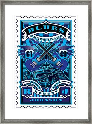 David Cook Umgx Vintage Studios Blues Crossroads Illustrated Stamp Art Poster Framed Print by David Cook  Los Angeles Prints