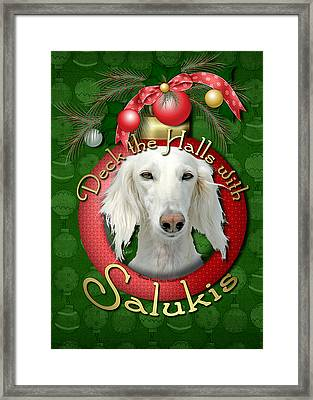Deck The Halls With Salukis Framed Print by Renae Laughner