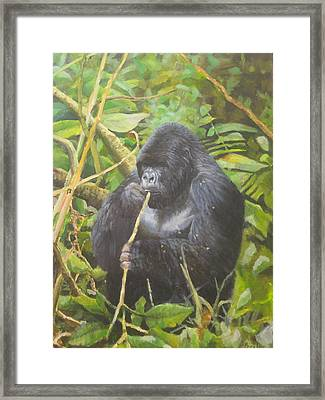 Framed Print featuring the painting Deep In Virunga Jungle by Noe Peralez