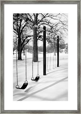 Deep Snow & Empty Swings After The Blizzard Framed Print by Trina Dopp Photography