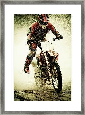 Dirt Bike Rider Framed Print by Thorpeland Photography