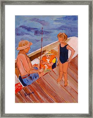 Dockside Negotiation On Who Is Fishing Framed Print by Elzbieta Zemaitis