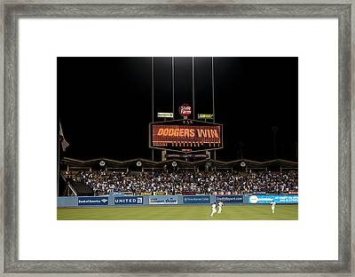 Dodgers Win Framed Print by Malania Hammer