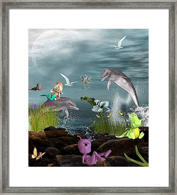 Dolphin Play Framed Print by Morning Dew