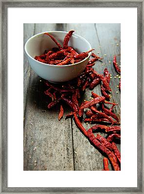 Dried Chilies In White Bowl Framed Print