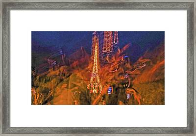 Eiffel On Bastille Day Abstract Framed Print by Tony Grider