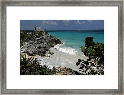 El Castillo On A Cliff Overlooking Framed Print by Raul Touzon