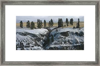 Elberton Cliffs In Winter Framed Print by Jerry McCollum