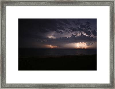 Electrical Storm Over Lake Michigan Framed Print by Christopher Purcell