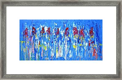 Equine Abstract Painting Horses On The Range Framed Print