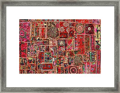 Fabric Art - Patch Work Framed Print by Milind Torney