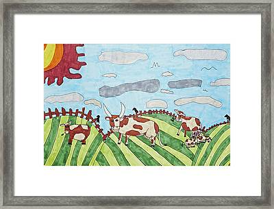 Family On Green Pastures Framed Print by Stephanie Ward
