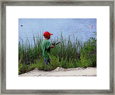 Fishing At Hickory Mound Framed Print